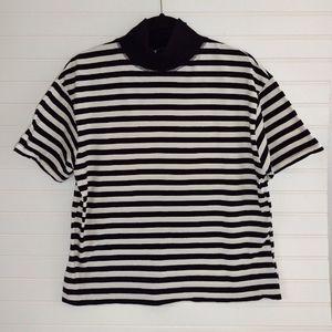 Zara Striped Mock Neck Boxy Top